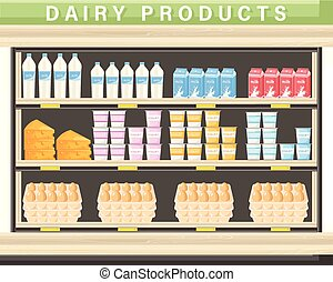 Farm fresh dairy Vector shopping stands. Milk, yogurt, cheese and eggs illustration