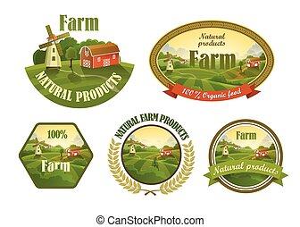Farm fresh emblems set