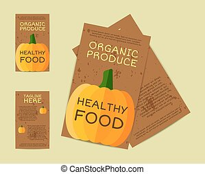 Farm Fresh flyer, template or brochure design with pumpkin. Mock up design with shadow. Vintage colors. Best for natural shop, organic fairs, eco markets and local companies. Vector