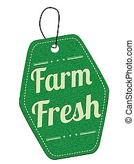 Farm fresh green leather label or price tag