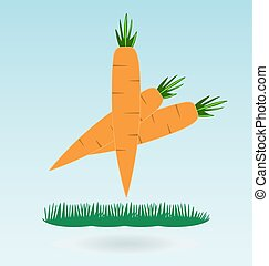 Farm fresh organic carrots with leaves, grass concept