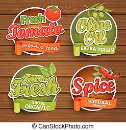 Farm fresh, organic food label.