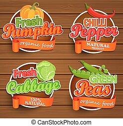 Farm fresh, organic food label. Vector.