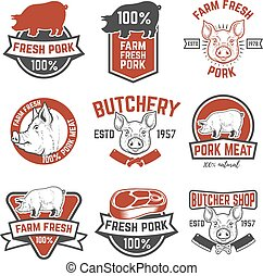 farm fresh pork meat emblems. Design elements for logo,...
