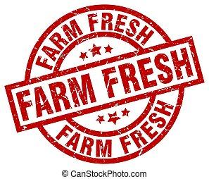 farm fresh round red grunge stamp