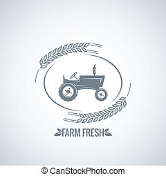 farm fresh tractor design background 8 eps