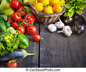 FARM FRESH vegetables and fruits - organic food background; ...
