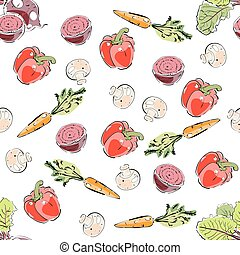 Farm fresh vegetables seamless pattern.