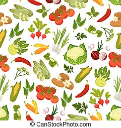 Farm fresh vegetables seamless pattern