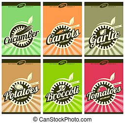 Farm fresh vegetables vector labels collection. Cucumber,...
