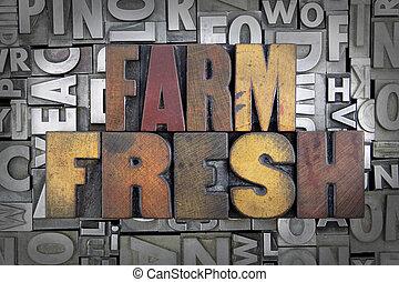 Farm Fresh written in vintage letterpress type