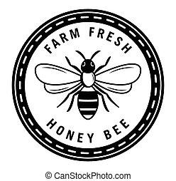 farm frisk, honning, emblem, bi