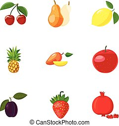 Farm fruits icons set, cartoon style