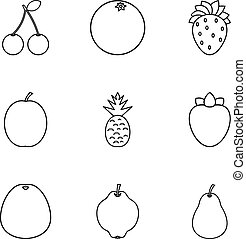 Farm fruits icons set, outline style