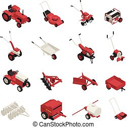 Farm Garden Machinery Icons Set