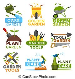 Farm gardening and planting tools, vector icons - Gardening...