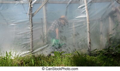 farm girl watering-can - Farm girl water greenhouse...