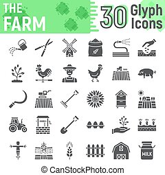 Farm glyph icon set, farming symbols collection, vector sketches, logo illustrations, agriculture signs solid pictograms package isolated on white background, eps 10.
