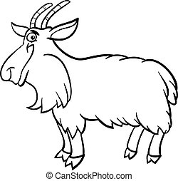 farm goat cartoon for coloring book