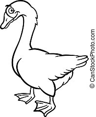 farm goose cartoon for coloring book