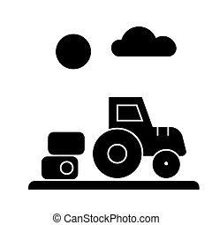 farm harvest, tractor  icon, vector illustration, sign on isolated background