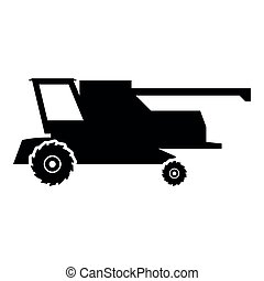 Farm harvester for work on field Combine icon black color illustration