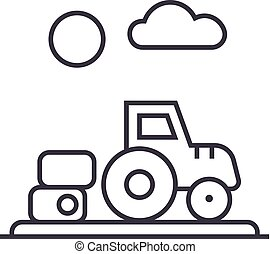farm harvest,tractor vector line icon, sign, illustration on background, editable strokes