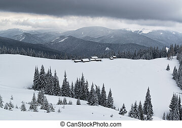 Farm high in the winter mountains