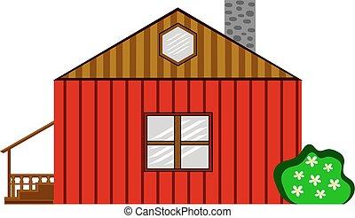 A Red Wooden Farm House With Jasmine Bush