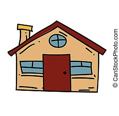 Farm house cartoon hand drawn image