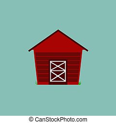 FARM HOUSE CARTOON ILLUSTRATION / ON BLUE