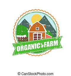 Farm House concept logo. Template with farm landscape. Label for natural food