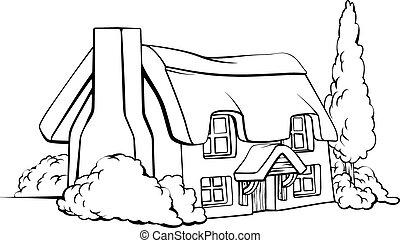 Farm house cottage - An illustration of an idyllic ...