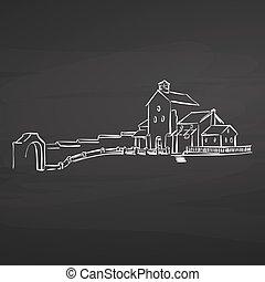 farm house drawing on chalkboard