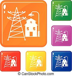 Farm house icons set vector color