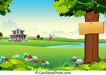 Farm House - illustration of house in side of lake in green...