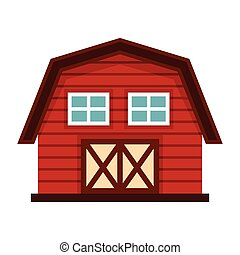 Farm house in cartoon style isolated on white background