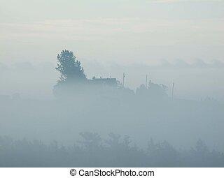 farm house in the fog - Farm house on a foggy morning,...