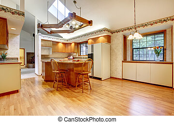 Bright farm house kitchen room with vaulted ceiling and hardwood floor. Design solution of lighting.