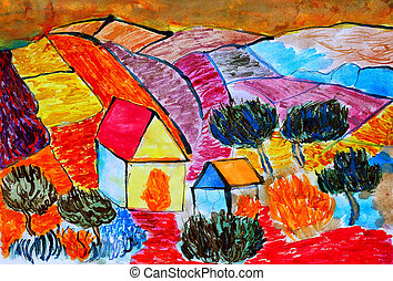 farm house landscape countryside fields behind red brown watercolor painting style of Van Gogh Holland