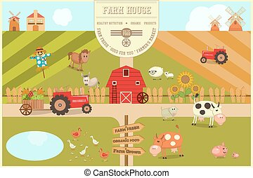 Farm House Card. Farmers Market. Healthy Food, Organic Products and Farming Concept. Retro Style. Vector Illustration.