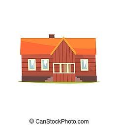 Farm house, rural cottage cartoon vector Illustration