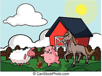 Farm house scenery duck,pig,horse