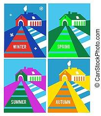 Farm house seasonal cards set