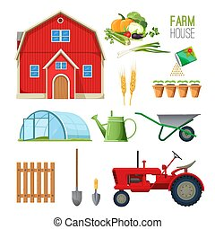 Farm house set of equipment for rural works and barn