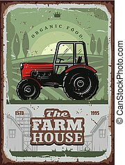 Farm house vector poster with farmer tractor
