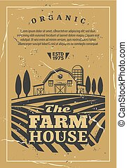 Farm house with field old retro vector poster