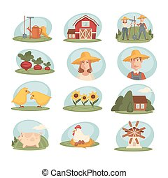 Farm household or farmer agriculture and cattle vector flat icons