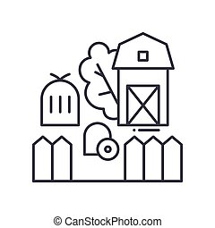 Farm icon, linear isolated illustration, thin line vector, web design sign, outline concept symbol with editable stroke on white background.