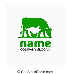 Farm icon with cow, pig and chicken